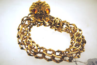 1960s Vintage Link Bracelet with Garnet & Topaz Decorated Globe Charm in Solid 14K Yellow Gold - $20K VALUE