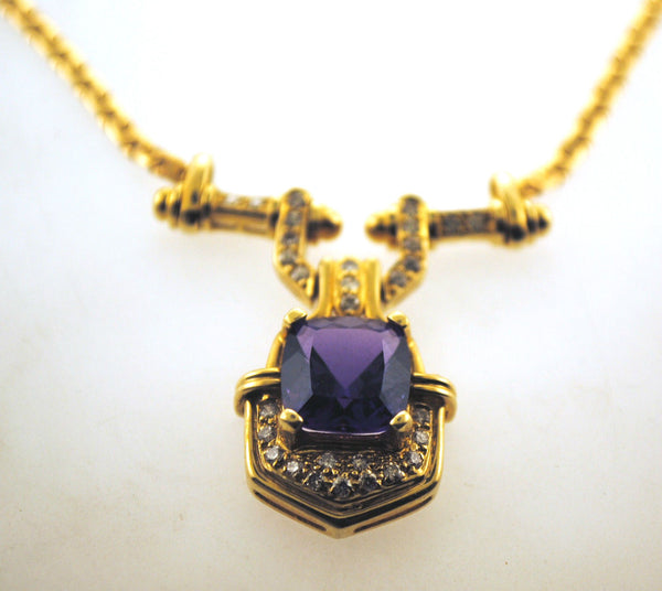 Contemporary 3.5 Carat Amethyst & Diamond Necklace in 14K Yellow Gold - $15K VALUE