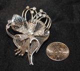 1960s Retro Trumpet Flower Diamond Brooch in Solid 14K White Gold - $20K VALUE