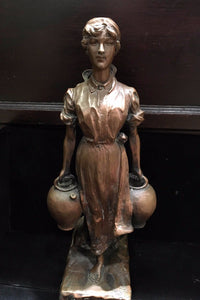 Bronze Statue Of Peasant Woman with Jugs - $3K VALUE*