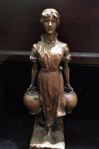 Signed Bronze Statue Of Peasant Women with Jugs - $3K VALUE