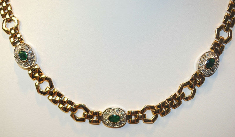 1960s Vintage Emerald & Diamond Necklace in Solid 14K Yellow & White Gold - $20K VALUE