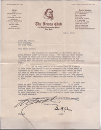 GEORGE M COHAN 1923 Autographed Original Friars Club Letter - $15K VALUE
