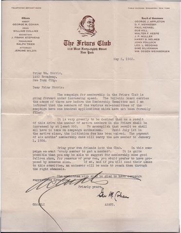 1923 George M. Cohan Autographed Original Friars Club Letter - $15K VALUE
