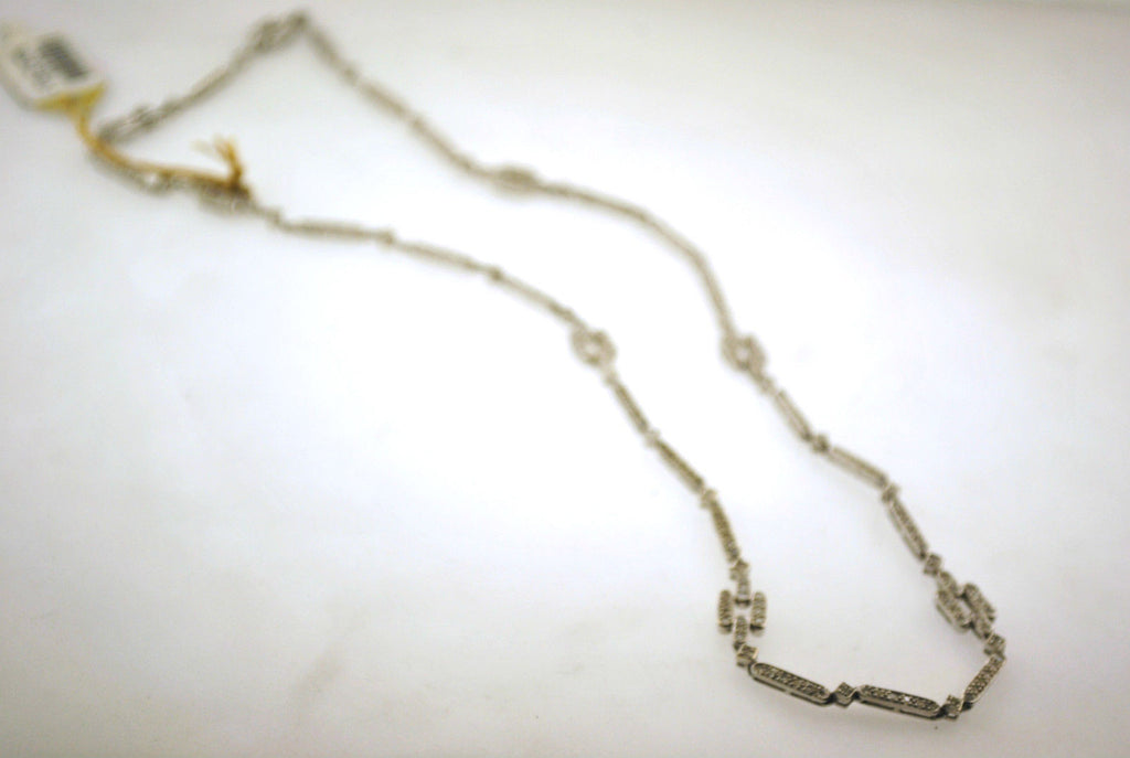 1960s Vintage Diamond Link Necklace in 18K White Gold with 2.50 Carats of Diamonds - $18K VALUE