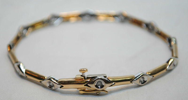 Contemporary Two Tone Bracelet in 14K Yellow & White Gold with Diamonds - $10K VALUE