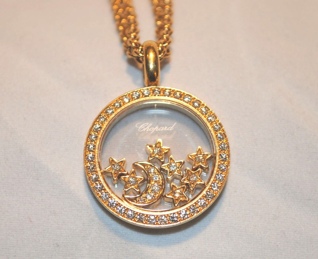 Beautiful contemporary chopard diamond necklace with floating star beautiful contemporary chopard diamond necklace with floating star moon charms in 18k yellow gold aloadofball Image collections