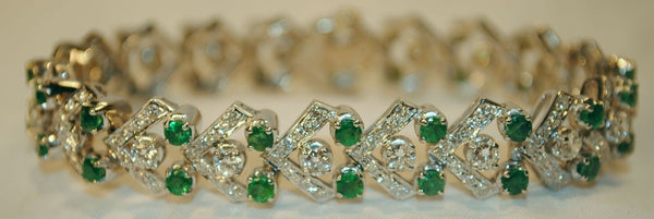 Contemporary Elegant Diamond and Emerald Bracelet in Solid 14K White Gold - $20K VALUE