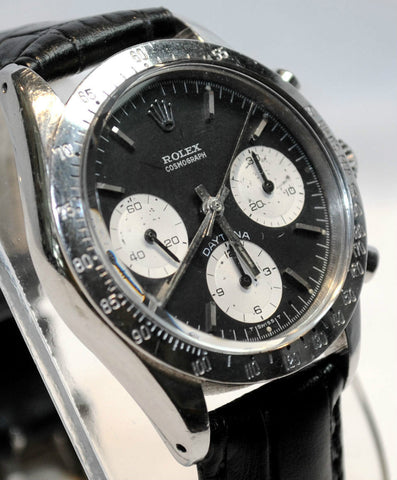 1968 Vintage Rolex Daytona Cosmograph Wristwatch in Stainless Steel with Black Dial & 3 Silver Subdials - $80K VALUE