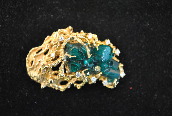 Very Unique Solid 14K Yellow Gold Brooch/Pendant with Diamonds and Raw Emeralds - $75K VALUE}