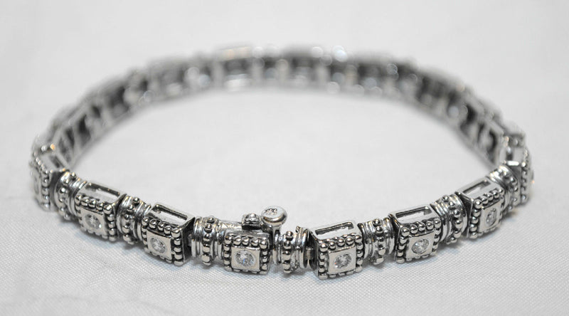 Geometric Solid White Gold Tennis Bracelet with 1.75 Carats of Diamonds - $12K VALUE