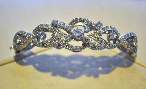 Gorgeous Vintage Style 3.50 Carat Diamond Bangle Bracelet in Solid 14K White Gold - $25K VALUE