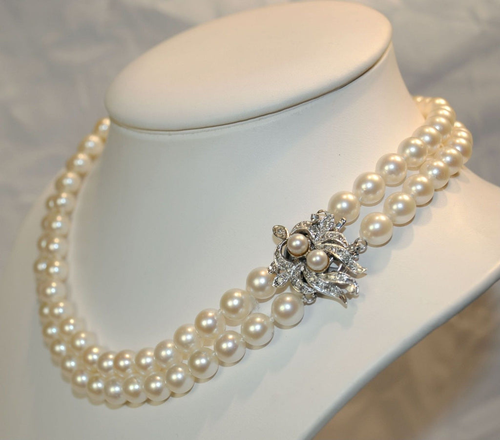 1950s Vintage Doublestrand Saltwater 75 Mm Pearl Necklace With Diamond  Clasp  $25k