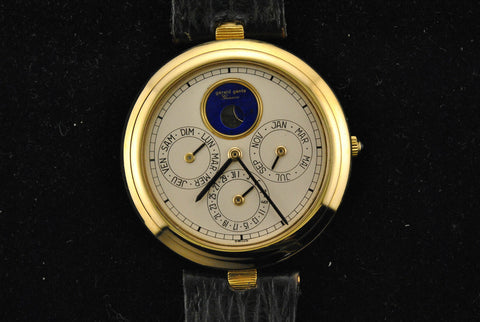 Gerald Genta Men's Large Wristwatch with Perpetual Calendar & Moon Phase in 18K Yellow Gold - $50K VALUE