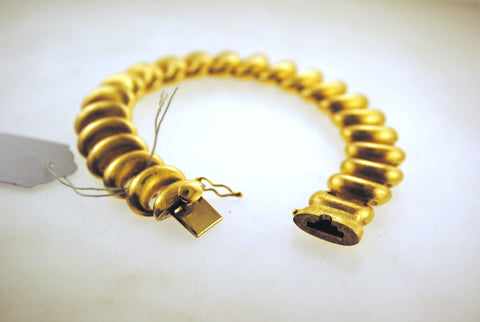 1960s 18K Yellow Gold Link Bracelet with Antique Satin Matte Finish - $18K VALUE