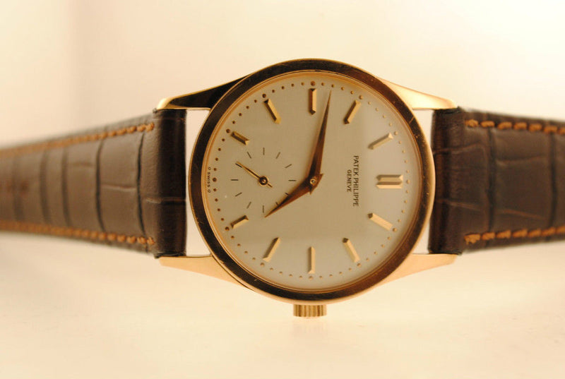 Patek Philippe Men's Calatrava Wristwatch in 18K Rose Gold with Silver Dial - $40K VALUE
