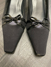 STUART WEITZMAN Black Leather Bow Accented Kitten Heels - $500 Appraisal Value! ✓