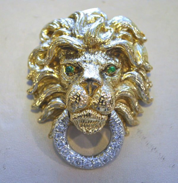 Beautiful 1960s 18K Yellow & White Gold Lion's Head Brooch/Pendant w/ Diamonds and Emeralds - $20K VALUE