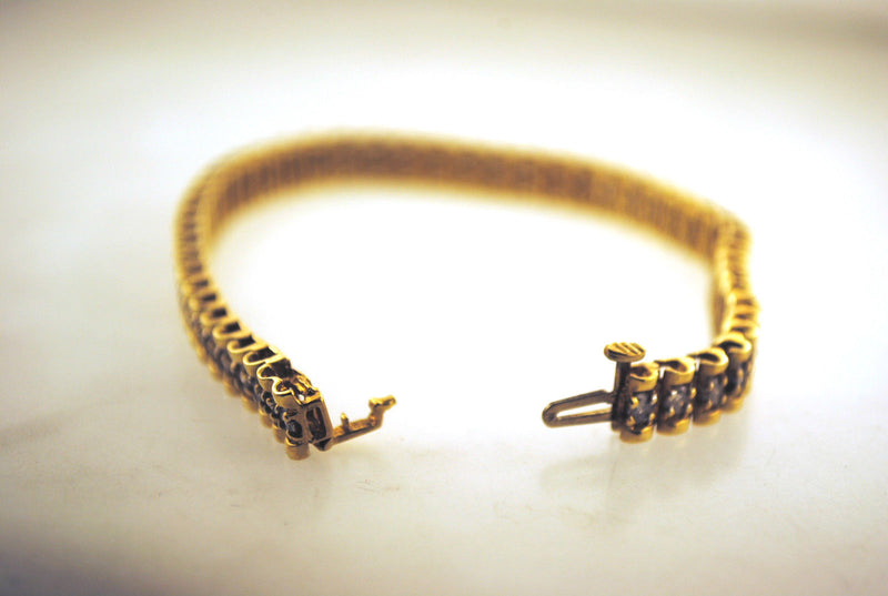 Classic Solid 14K Yellow Gold Tennis Bracelet with 3 Carats of Diamond - $12K VALUE