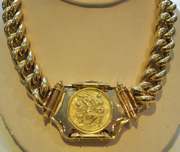 Gorgeous Italian Relief Curb Chain Necklace in 18K Yellow Gold with Victorian Chain Connector - $50K VALUE
