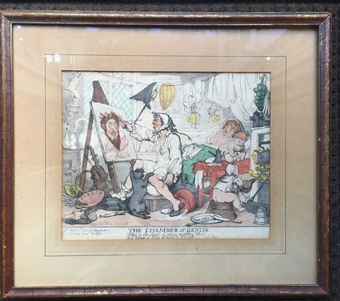 "Original 1812 Thomas Rowlandson Print ""The Chamber of Genius"" - $10K VALUE"