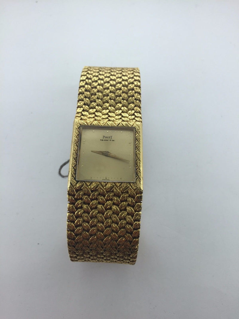PIAGET Rare Vintage 18K Yellow Gold Wristwatch w/ Gold Dial & Specially Designed Bracelet - $40K VALUE