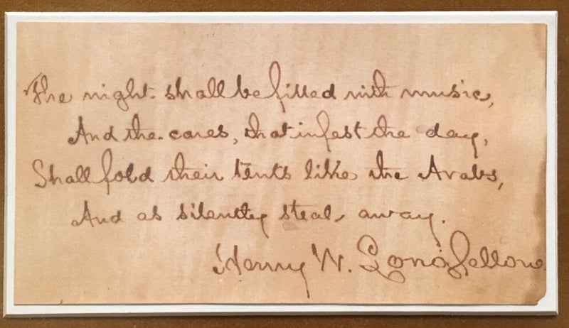 HENRY LONGFELLOW Original Handwritten Poem Signed with Picture - $20K VALUE