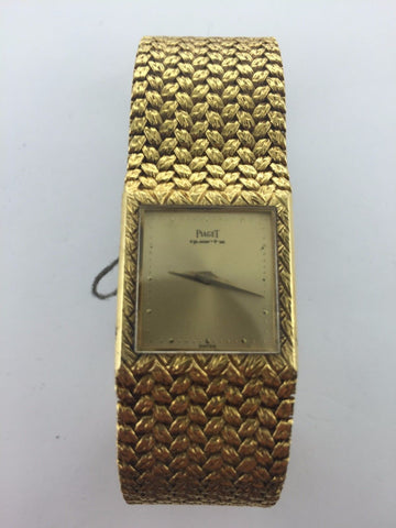 Vintage Rare Piaget 18K Yellow Gold Wristwatch with Gold Dial & Specially Designed Bracelet - $40K VALUE