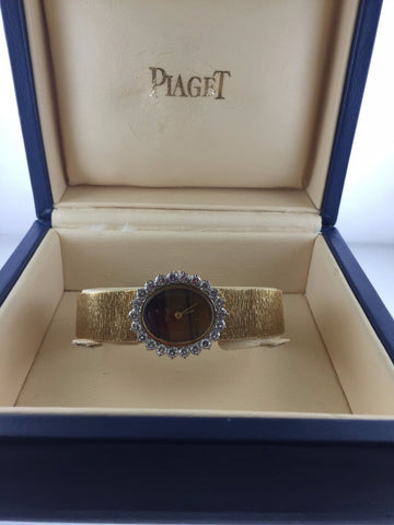 Piaget Women's 18K Yellow Gold Wristwatch with Diamond Bezel & Tiger Eye Dial - $50K VALUE
