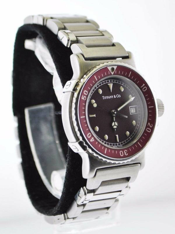 TIFFANY & CO. Rare Vintage SS Burgundy Men's Diving Watch - $10K Appraisal Value! ✓