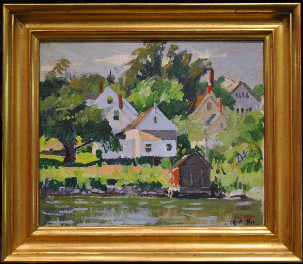 "Lovely 1930s George Oberteuffer ""Boat House, Boothbay Harbor"" Signed Oil Painting - $40K VALUE"