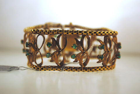 1940s Vintage Designer Emerald Bow Design Link Bracelet in 18K Rose Gold - $15K VALUE