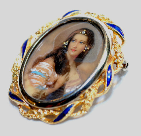 1940s Hand Painted Miniature of a Woman Brooch/Pendant in 18K Yellow Gold - $15K VALUE
