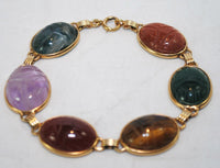 1950s Vintage Classic Scarab Bracelet with Multiple Gemstones in Solid 14K Yellow Gold - $6K VALUE
