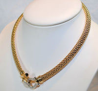 Omega Braided Mesh Necklace with Diamond & Onyx Horseshoe Clasp in 14K Gold - $25K VALUE