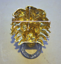Beautiful 1960s 18K Yellow & White Gold Lion's Head Brooch/Pendant with Diamonds and Emeralds - $20K VALUE