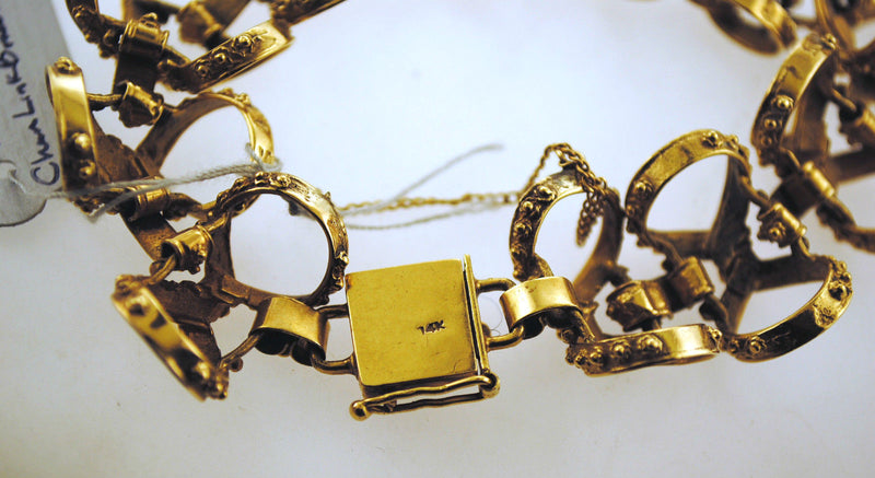 AMAZING 1950s Vintage Bow Tie Design Bracelet in Solid 14K Yellow Gold - $15K VALUE