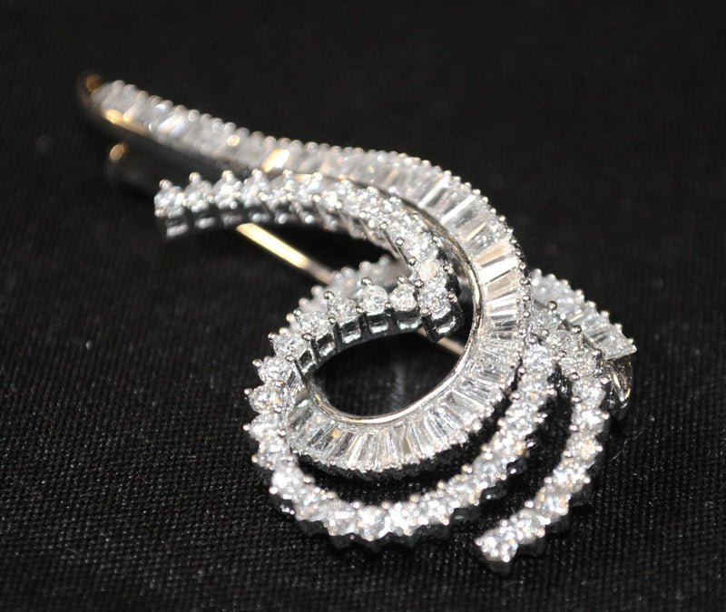 Exquisite Contemporary 3+ Carat Diamond Swirl Brooch in Solid 14K White Gold - $15K VALUE}