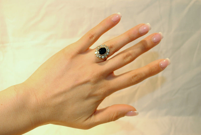 1900s Antique Edwardian 4 Carat Oval Sapphire Ring with Diamonds in 14K Yellow Gold - $30K VALUE