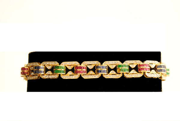 Contemporary Ruby, Sapphire, & Emerald Bracelet with Diamonds in 18K Yellow Gold - $30K VALUE