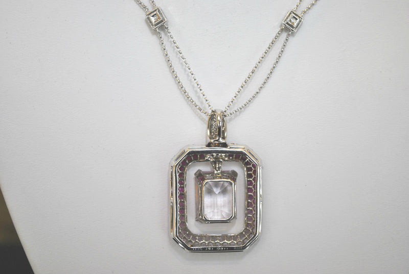 Exquisite 21 Carat Pink Sapphire & Ruby 18K White Gold Pendant with Diamond 14K White Gold Necklace - $30K VALUE