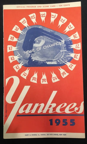 Original 1955 New York Yankees Official Program and Score Card - $800 VALUE