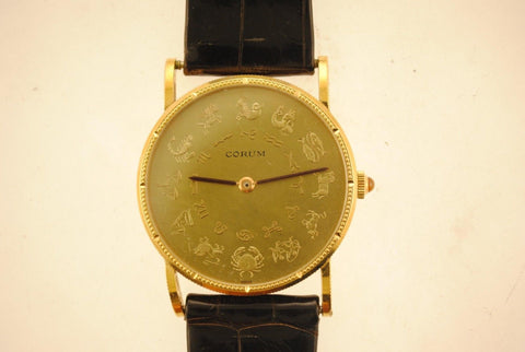 Vintage Corum Astrological Coin Men's Wristwatch in 18K Yellow Gold with Astrological Symbols - $25K VALUE