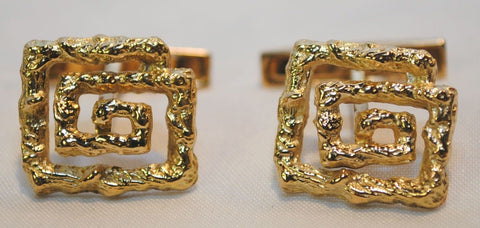 1960s Ilias Lalaounis Textured Greek Key Cuff Links in 18K Yellow Gold - $10K VALUE
