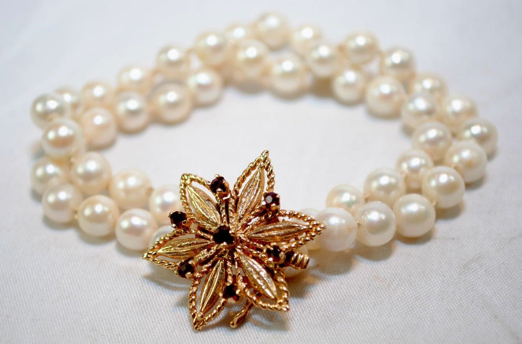 1950s Vintage Designer Double Strand Pearl Bracelet with Garnet and 14K Yellow Gold Clasp - $3K VALUE