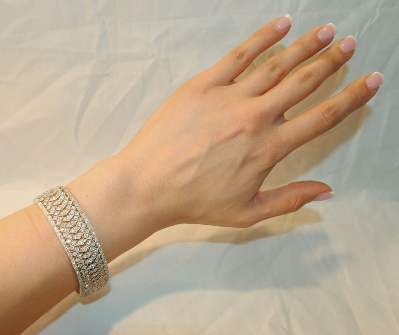 Stunning Diamond Lace-Style Filigree Bracelet in 18K White Gold - $20K VALUE