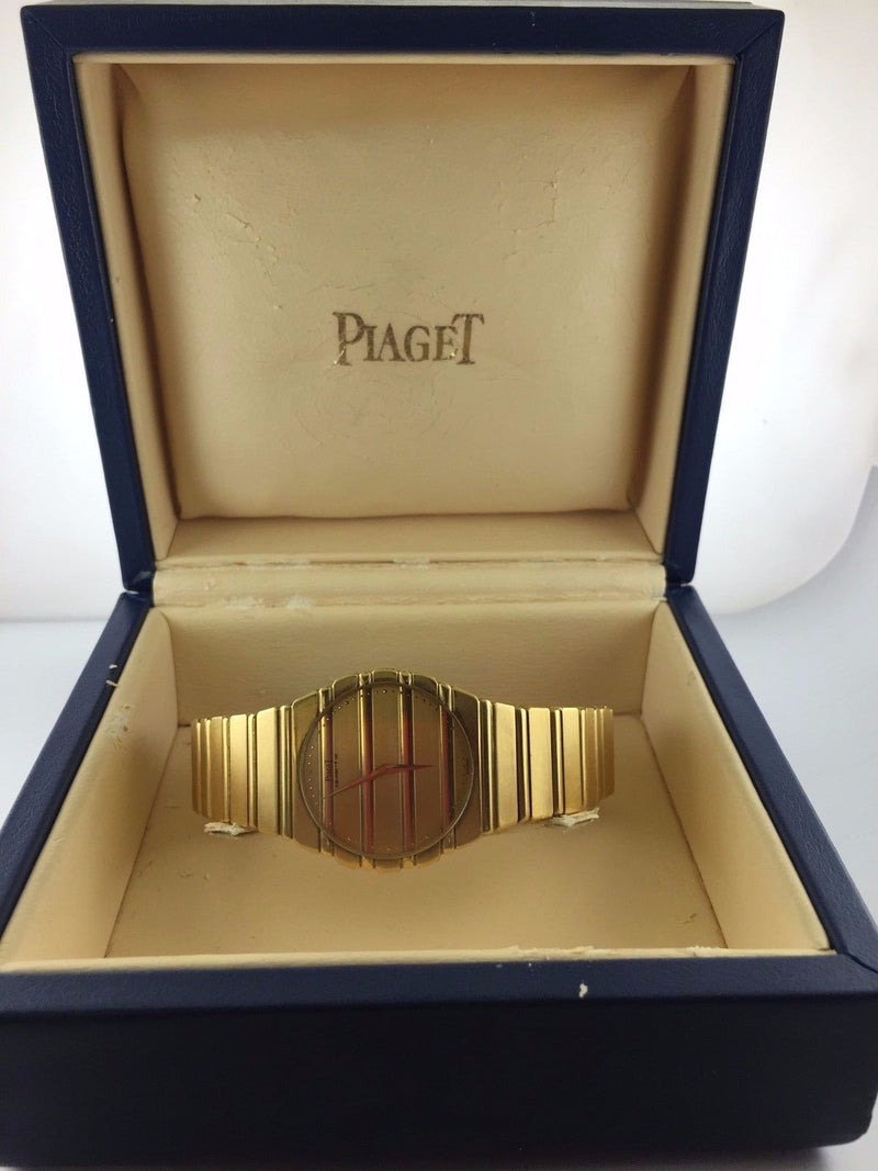 Piaget Men's Large Polo Wristwatch in 18K Yellow Gold with Gold Bar Design - $40K VALUE