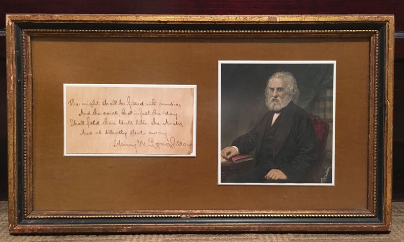 Original Henry Longfellow Handwritten Poem Signed with Picture - $20K VALUE