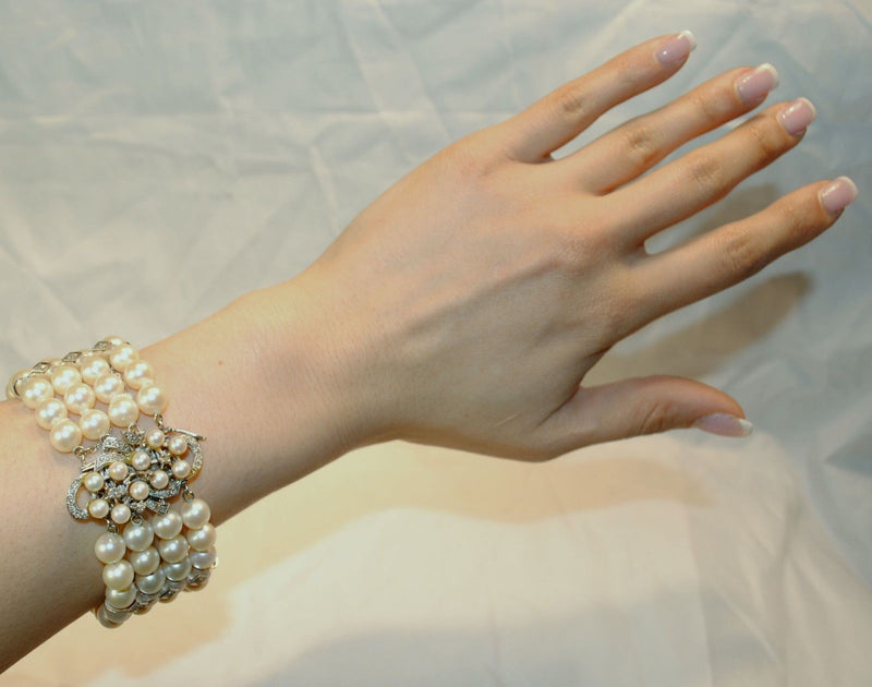 1950s Vintage Four Strand Saltwater 9 mm Pearl Bracelet with Diamonds - $25K VALUE