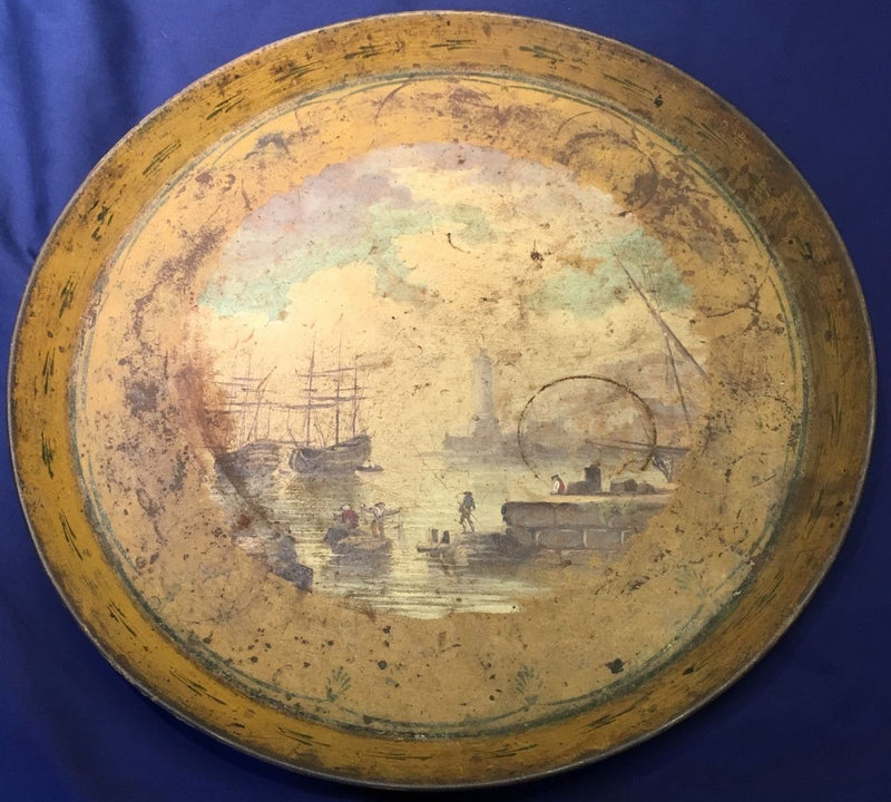 French Serving Tray with Hand Painting of Pier Scene circa 18th Century - $3K VALUE